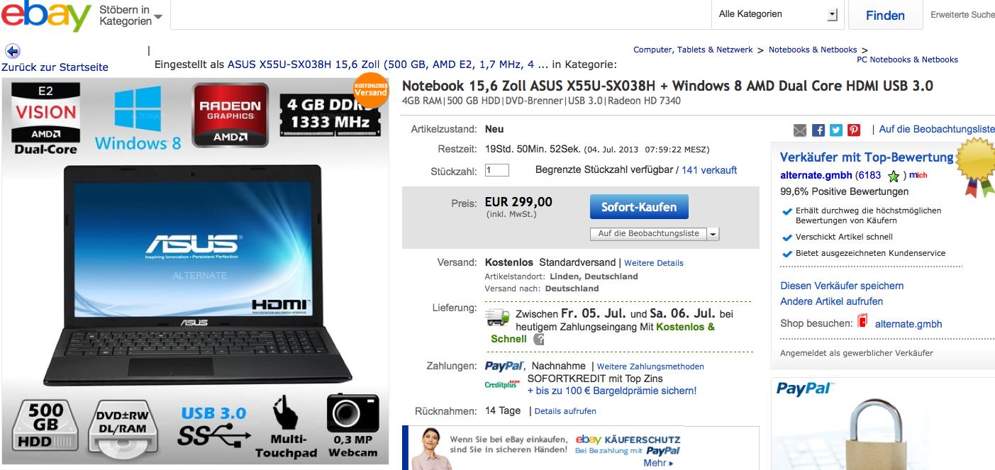 Screenshot von eBay.de