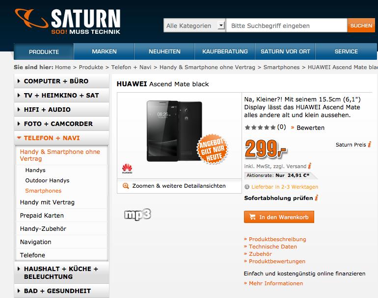 Screenshot von Saturn.de