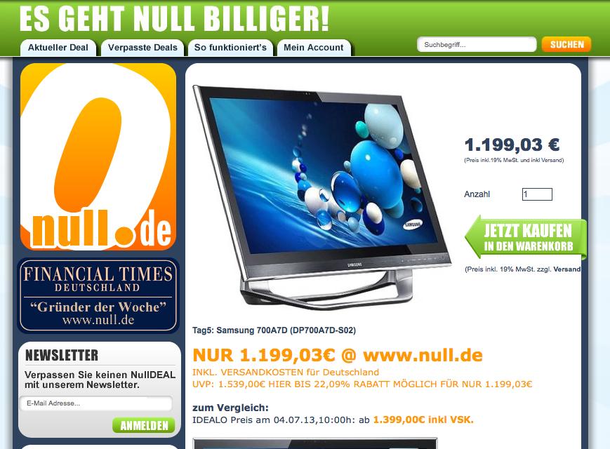Screenshot von Null.de