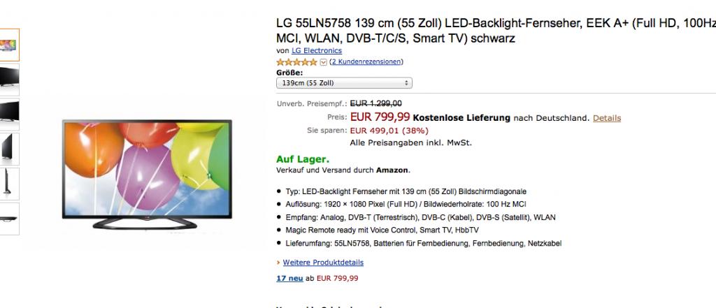 Screenshot von amazon.de
