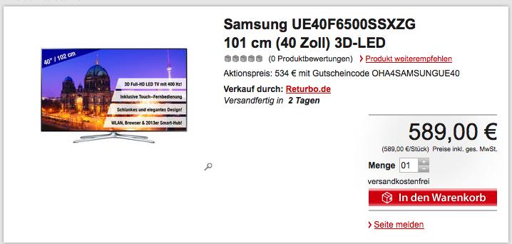 Samsung UE40F6500 Smart TV 3D