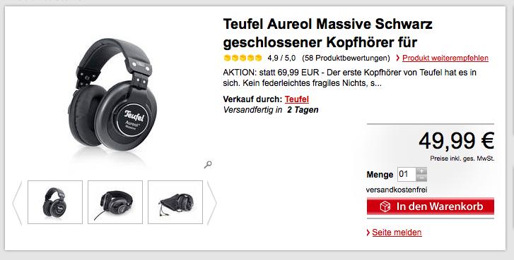 Kopfhörer Aureol Massive von Teufel für nur 46,49 €