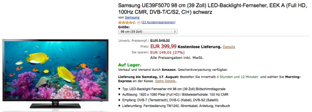 Samsung UE39F5070 LED-Backlight-Fernseher