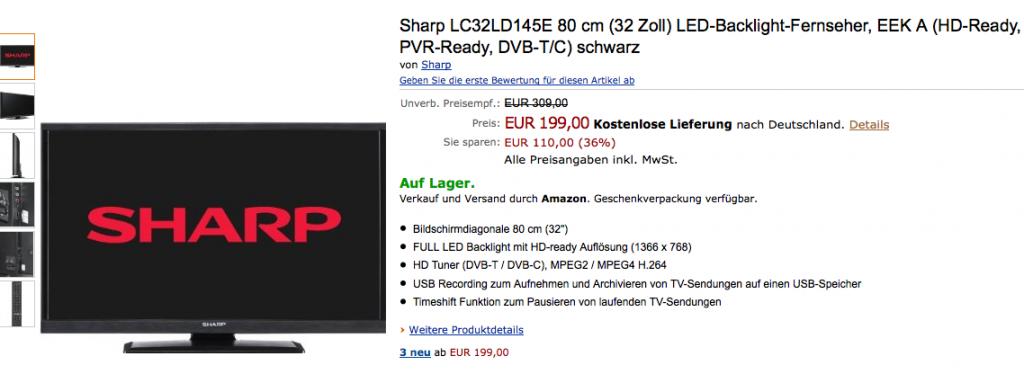 Sharp LC32LD145E LED Backlight Fernseher