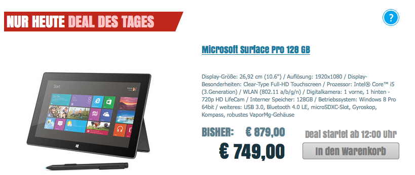 MS Surface Pro 128 GB