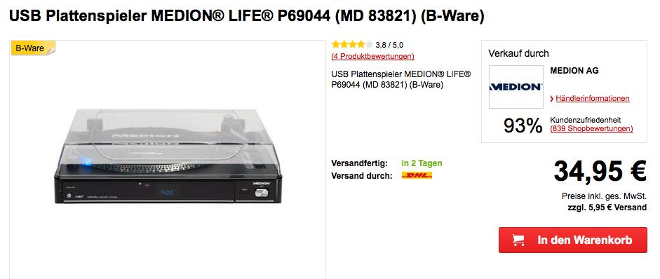 USB Plattenspieler Medion Life P69044