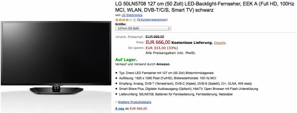 lg 50ln5708 50 zoll led backlight fernseher mit wlan stick f r 666 bei. Black Bedroom Furniture Sets. Home Design Ideas